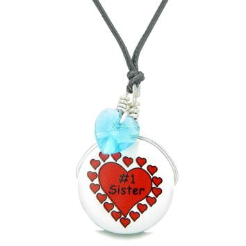 Handcrafted Cute Ceramic Lucky Charm Number One Sister Sky Blue Heart Amulet Pendant Adjustable Necklace