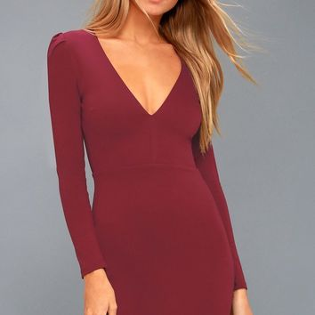 Haute in Here Burgundy Long Sleeve Bodycon Dress