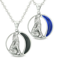 Love Couple Howling Wolf Wild Moon Simulated Onyx Midnight Blue Cats Eye Necklac