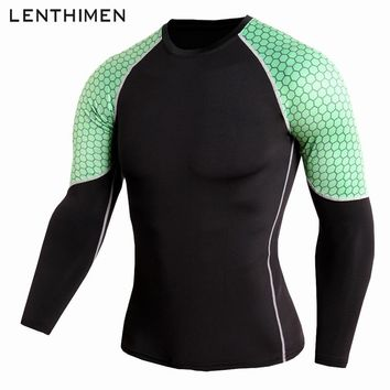 New Men's Running T-shirt Long Sleeve Compression Shirts Breathable Quick-Drying Stretch Tops Cool Dot Gym Sport Jersey Rashgard