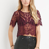 Scalloped-Eyelash Lace Top