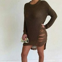 Ripped Hollow Knitted Top Sweater Dresses