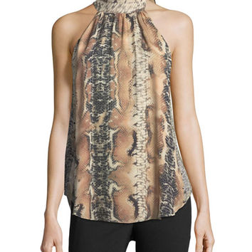 Haute Hippie Hold-Up Necktie Snake-Print Silk Blouse