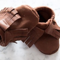 Leather Baby Moccasins 6 to 12 months Soft Sole Shoes by OnFoot