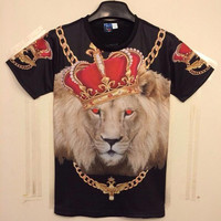 New Fashion Men&'s/Women&'s Gold Chain Crown Lion 3D Print Casual T-Shirt Summer T shirt Brand Cloth