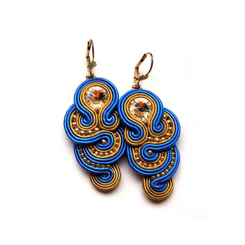 multicolor soutache earrings colorful orecchini Swarovski boucles d'oreilles bijoux orecchini pendientes bijoux bridesmaids gift wedding