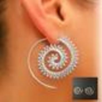 Ornate Swirl Hoop Gypsy Indian Tribal Ethnic Earrings Boho Earrings for Women Jewelry
