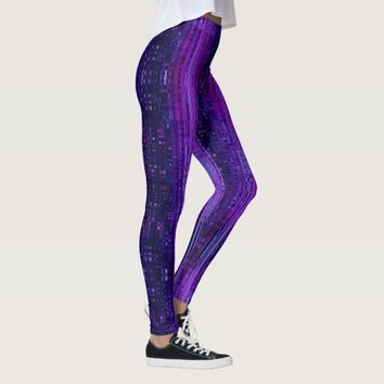 City Lights Rainy Window Blue and Purple Ombre Leggings