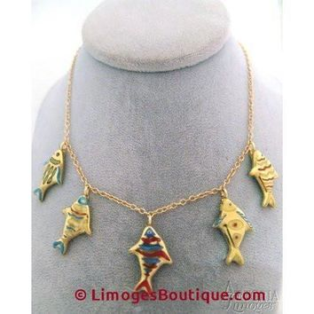 Swimming Fish Necklace Limoges Box
