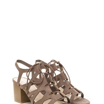 Day Tripping Lace-Up Chunky Block Heels