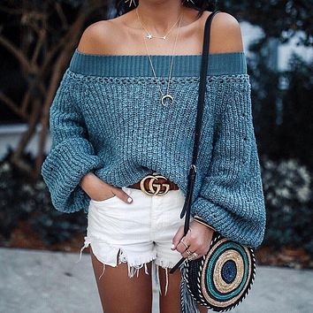 Street Fashion Shoulder Long Sleeves Loose Women Knit Sweater