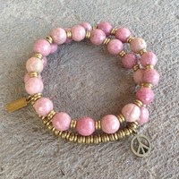 Self Love, Faceted Rhodochrosite 27 Bead Wrap Mala Bracelet