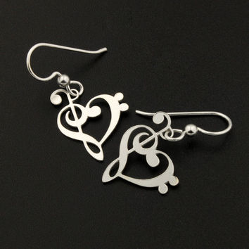 Heart clef G clef bass clef heart earrings silver music note Treble clef earrings music note French wire Hook earrings - gift for musician