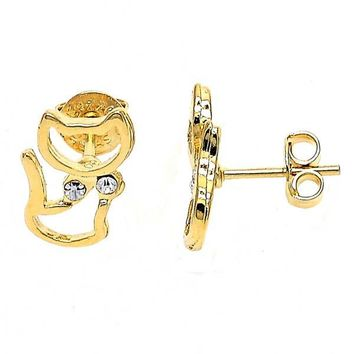 Gold Layered 02.55.0007 Stud Earring, Cat Design, with White Crystal, Polished Finish, Gold Tone