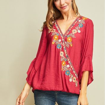 Ramona Embroidered Surplice Top
