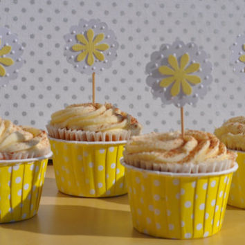 Embossed Daisy Cupcake Toppers for a Birthday Party or Bridal Shower