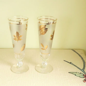 Stunning Gold Leaf Bar Glasses, Set of 2 Fall Frosted Beer Glass Tumblers, Vintage Libbey Glasses, 6 Available