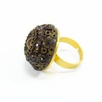 Costume Fashion Ring - Chunky Bohemian Swarovski Crystal Tiger's Eye Gold Plated Unique Big Rings - Bridal Christmas Wedding Adjustable Ring