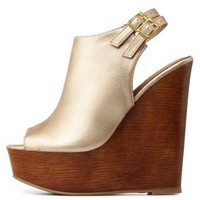 Gold Double Slingback Metallic Peep Toe Wedges by Charlotte Russe
