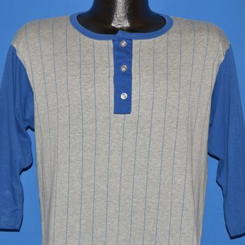 80s Striped Henley Baseball Jersey t-shirt Large