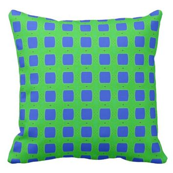 Blue Checked Pillow with Green Background