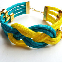 Turquoise and yellow bracelet, Colorful macrame bracelet, Macrame bracelet, Textile bracelet, Rope jewelry, Summer jewelry, Festive jewelry