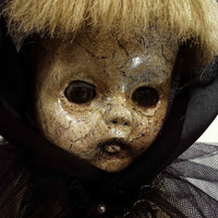 "One of A Kind Altered Art  Creepy Vintage Doll ""Orphaned"" Freaky Awful Scary Haunted Weird L.Cerrito Salvage Artist Doll"
