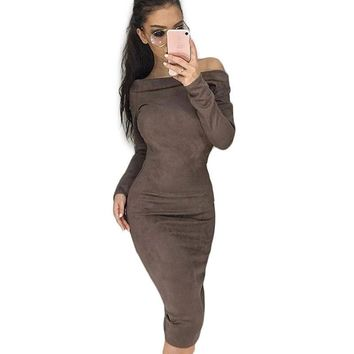 Women's Off Shoulder Long Sleeve Bodycon Evening Cocktail Party Long Dress US