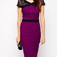 Color Block V-Neck Short Lace Sleeve Bodycon Dress