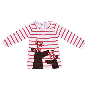 Christmas Pink Children Girl Clothes Autumn Baby T-shirt New Year Long Sleeve Kids Striped Deer Tops Clothing