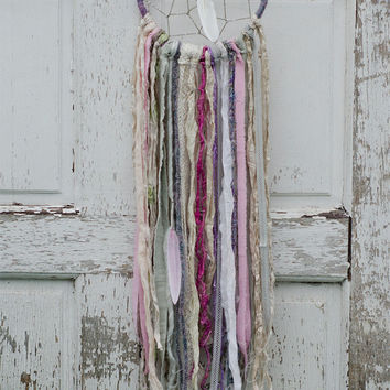 Pastel Dreamcatcher, Winter, Christmas, White, Pink, Fair Trade Gift, Bohemian Wall Decor, Lace, Shabby Chic Home, Gypsy Art, Wall Hanging