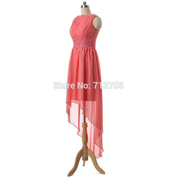 02DB279 2016 A-Line Applique Chiffon Real Photo Formal Wedding Party Dresses New Arrival High low Bridesmaid dresses