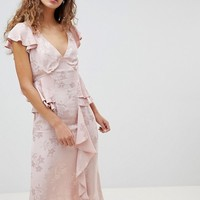ASOS DESIGN Soft Floral Jacquard Midi Tea Dress With Ruffle Hem at asos.com