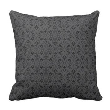 Ornate damask decorative black gray stylish throw pillow