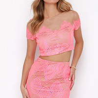 Royal Road Neon Pink Lace Two-Piece Dress