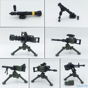 Heavy Machine Guns DIY Military Weapons Bazooka Soldiers Army Model Building Block Brick Arms WW2 Police Legoed Toy For Children