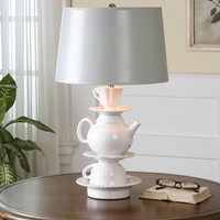 Tea Time White Glaze Lamp