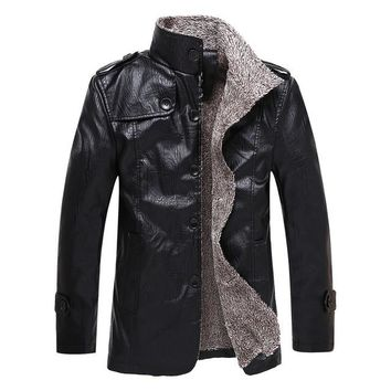 Gothic Faux Leather Stand Collar Jacket