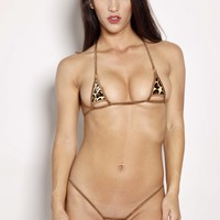 Brown Leopard Peek a Boo Exposed Extreme Micro Bikini 2pc Brown String Silver Rings