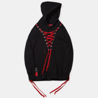 Fashion Long Sleeve Hooded Print Chest Lace Up Type Casual Sweater