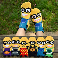 2015 new Despicable me socks girl's cartoon short socks lady and women cotton sock Three-dimensional socks girl summer sock C181