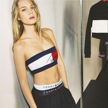 CREYOND Tommy Jeans' Personality Fashion Multicolor Letter Print Sleeveless Strapless Women Crop Tops Vest