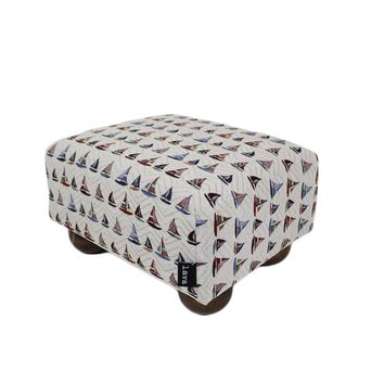 Multi-colored Sailboats Nautical Upholstered Fabric Footstool Ottoman