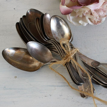 Vintage 1900s Silver Plate Spoon Set / WM Rogers & Sons AA Sultana Shell Design