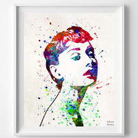Audrey Hepburn Print, Art Print, Watercolor Art, Type 3, Gift Idea, Poster, Audrey Art, Illustration, Giclee Decor, Wall Art Prints
