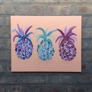 Abstract pineapple painting, 3 colorful pineapples, tropical pineapple painting, pastel pineapple painting