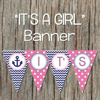 Nautical Anchor It's A Girl Baby Shower Banner Gum Pink Navy Blue Decorations Printable INSTANT DOWNLOAD 082