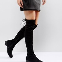 Public Desire Black Flat Tie Back Over The Knee Boot at asos.com