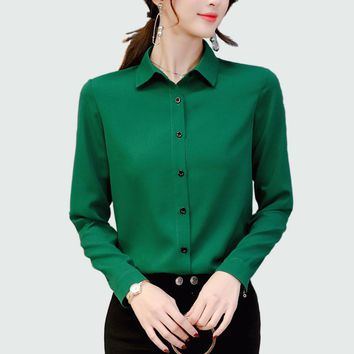 Women Long Sleeved Solid Chiffon Blouse Office Lady Spring Summer Plus Size Blouses Ol Style Shirts Blusas Chemise Femme