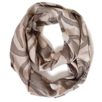 Beige and Brown infinity Scarf, Circle Scarf, Women scarf, Very soft and Lightweight